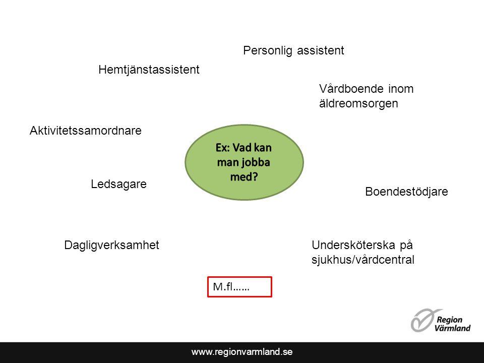 www.regionvarmland.se Dagligverksamhet Vårdboende inom äldreomsorgen Undersköterska på sjukhus/vårdcentral Hemtjänstassistent Boendestödjare Aktivitet