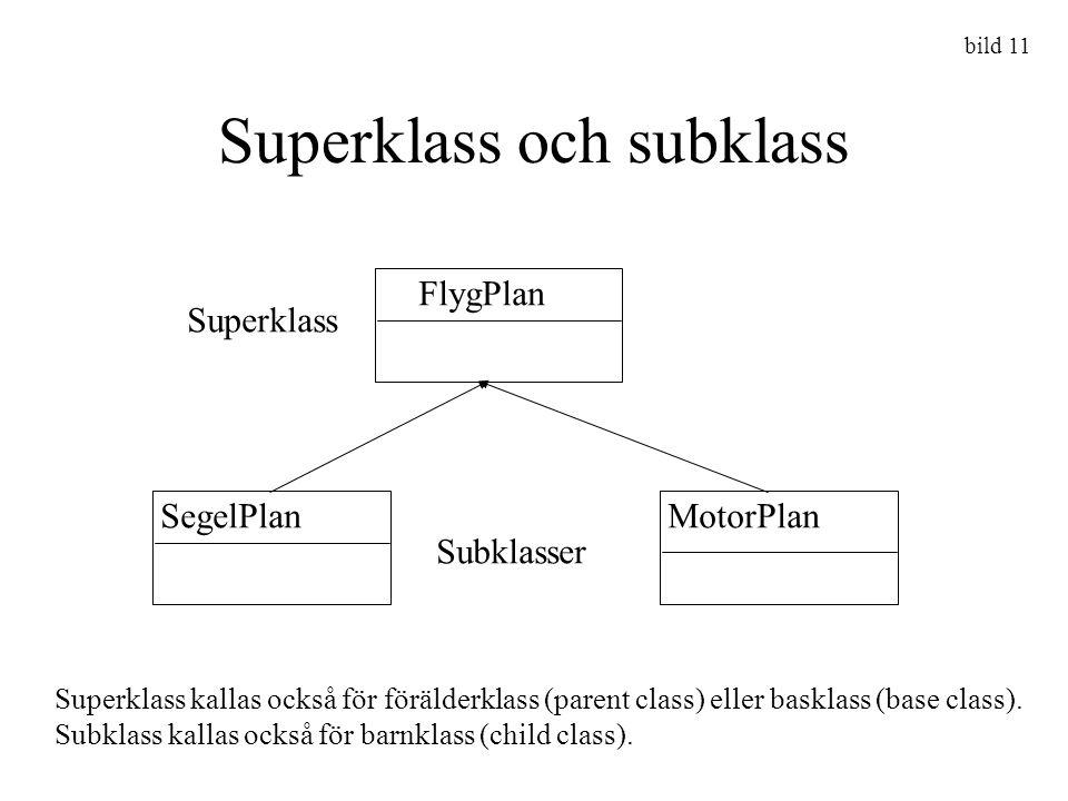 Superklass och subklass FlygPlan SegelPlanMotorPlan Superklass Subklasser Superklass kallas också för förälderklass (parent class) eller basklass (bas