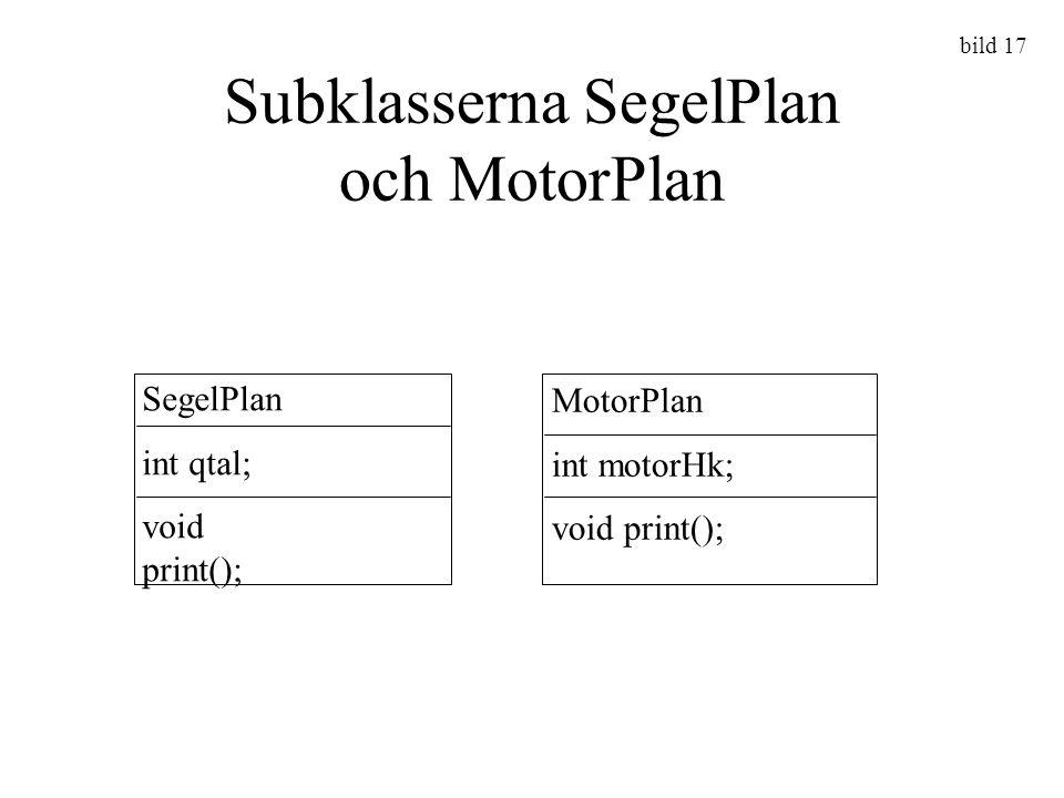 Subklasserna SegelPlan och MotorPlan SegelPlan int qtal; void print(); MotorPlan int motorHk; void print(); bild 17