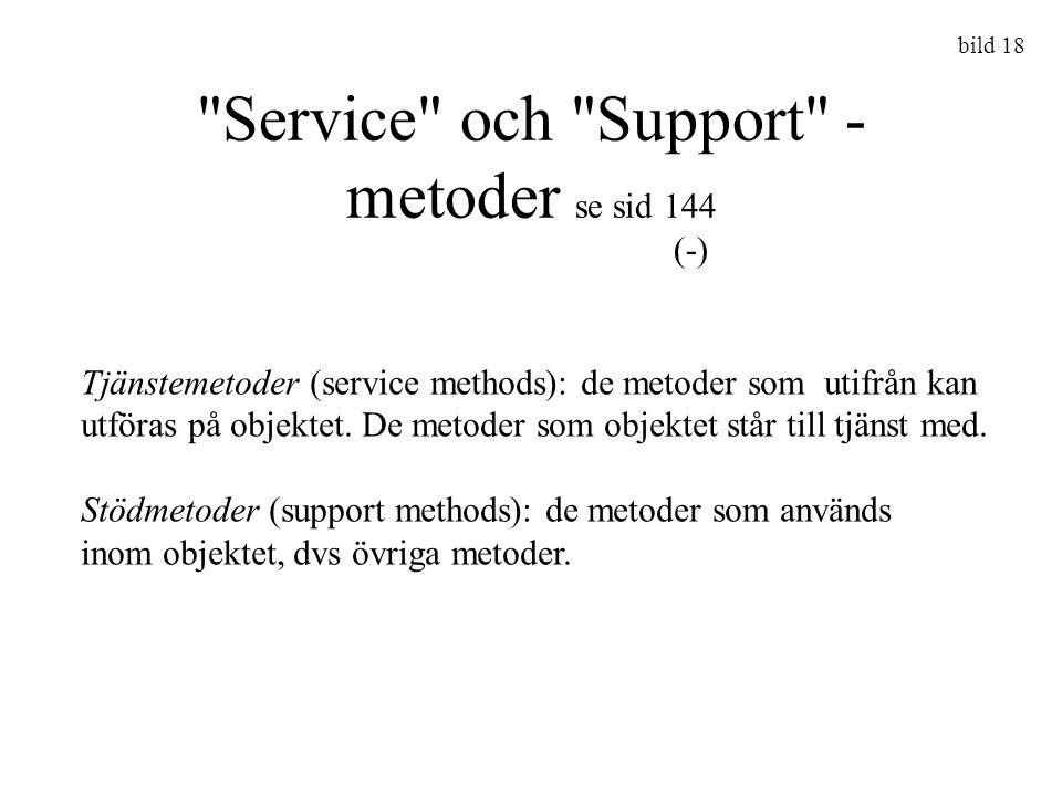 Service och Support - metoder se sid 144 bild 18 Tjänstemetoder (service methods): de metoder som utifrån kan utföras på objektet.