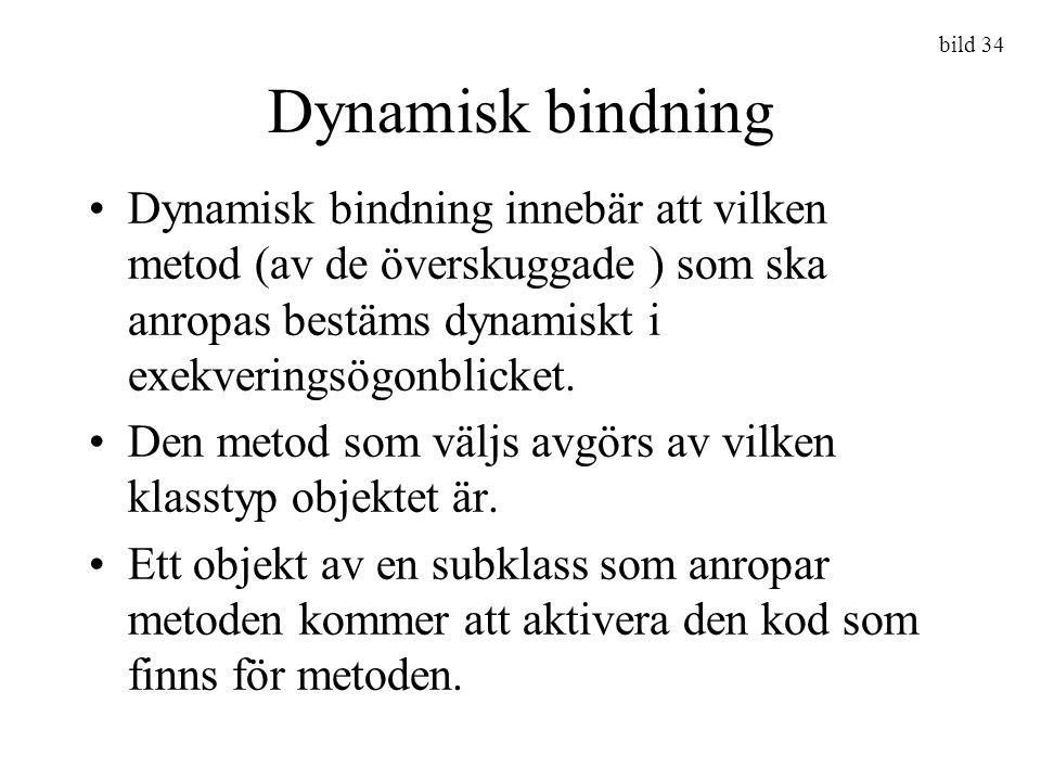 bild 34 Dynamisk bindning Dynamisk bindning innebär att vilken metod (av de överskuggade ) som ska anropas bestäms dynamiskt i exekveringsögonblicket.