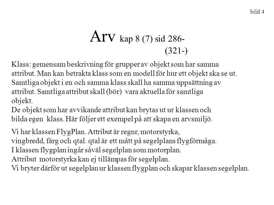 bild 4 Arv kap 8 (7) sid 286- Klass: gemensam beskrivning för grupper av objekt som har samma attribut. Man kan betrakta klass som en modell för hur e