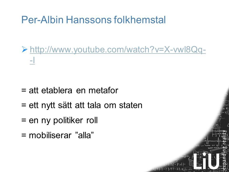 Per-Albin Hanssons folkhemstal  http://www.youtube.com/watch?v=X-vwl8Qq- -I http://www.youtube.com/watch?v=X-vwl8Qq- -I = att etablera en metafor = e