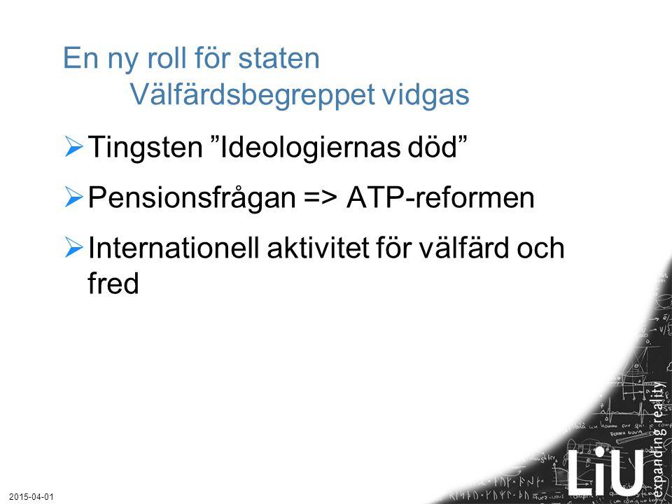 """En ny roll för staten Välfärdsbegreppet vidgas  Tingsten """"Ideologiernas död""""  Pensionsfrågan => ATP-reformen  Internationell aktivitet för välfärd"""
