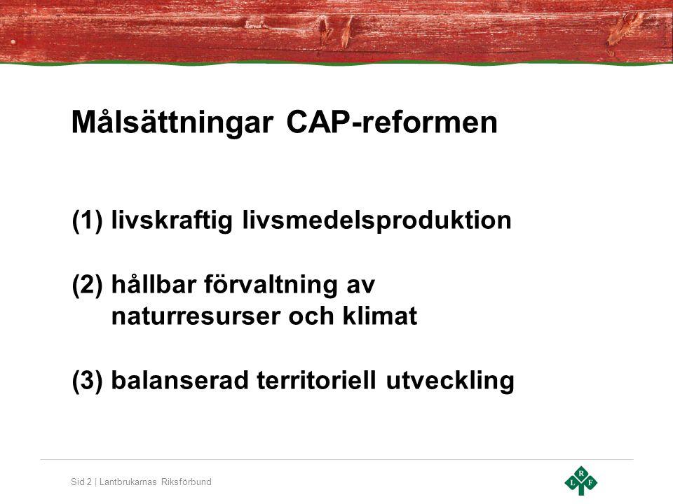 Sid 2 | Lantbrukarnas Riksförbund Målsättningar CAP-reformen (1)livskraftig livsmedelsproduktion (2)hållbar förvaltning av naturresurser och klimat (3