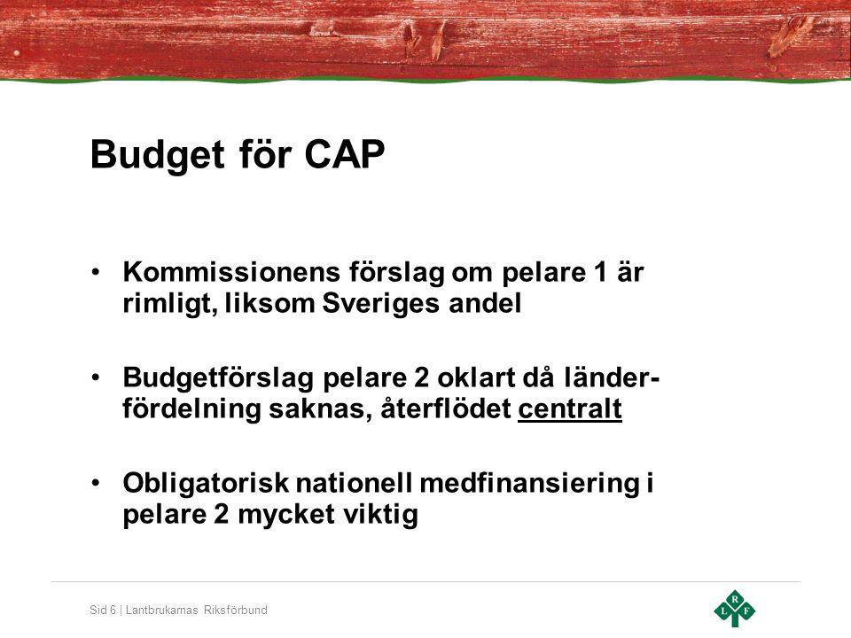 Sid 6 | Lantbrukarnas Riksförbund Budget för CAP Kommissionens förslag om pelare 1 är rimligt, liksom Sveriges andel Budgetförslag pelare 2 oklart då