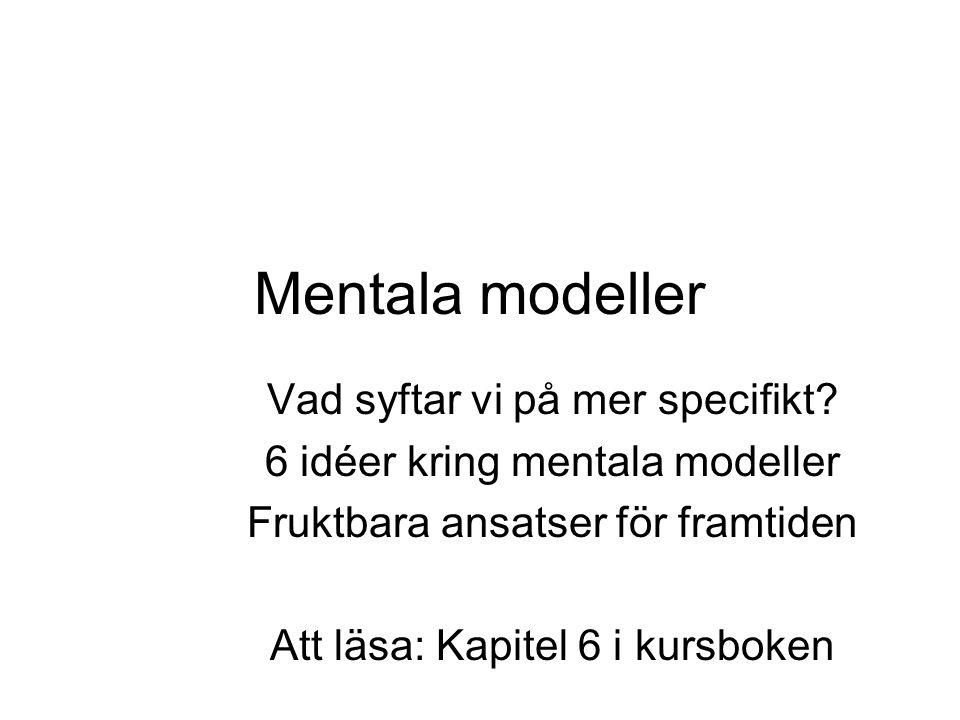 Mentala modeller Vad syftar vi på mer specifikt.