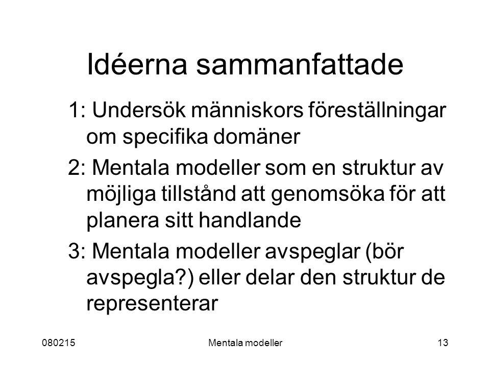 080215Mentala modeller13 Idéerna sammanfattade 1: Undersök människors föreställningar om specifika domäner 2: Mentala modeller som en struktur av möjliga tillstånd att genomsöka för att planera sitt handlande 3: Mentala modeller avspeglar (bör avspegla ) eller delar den struktur de representerar