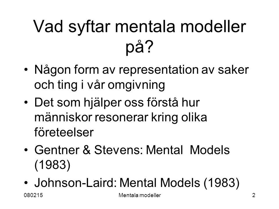 080215Mentala modeller2 Vad syftar mentala modeller på.