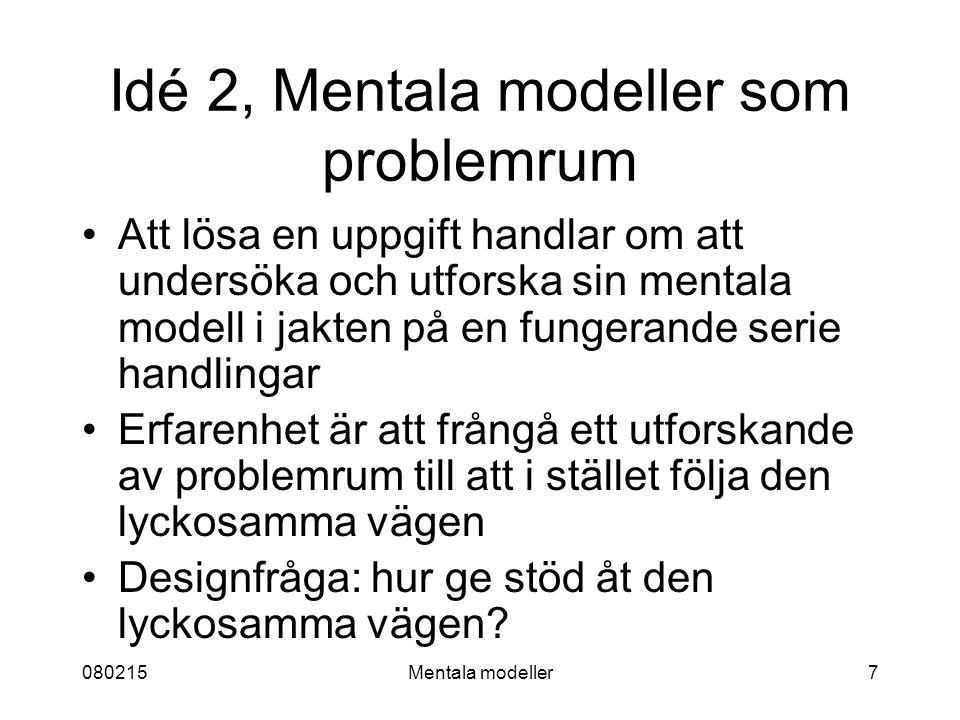 080215Mentala modeller7 Idé 2, Mentala modeller som problemrum Att lösa en uppgift handlar om att undersöka och utforska sin mentala modell i jakten på en fungerande serie handlingar Erfarenhet är att frångå ett utforskande av problemrum till att i stället följa den lyckosamma vägen Designfråga: hur ge stöd åt den lyckosamma vägen