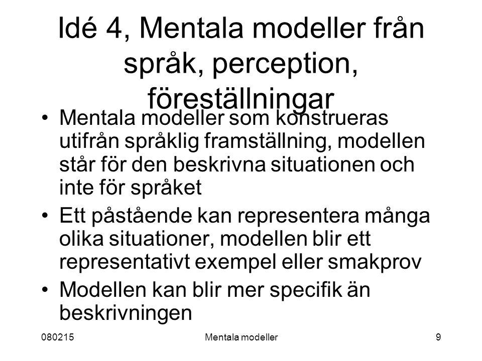 080215Mentala modeller9 Idé 4, Mentala modeller från språk, perception, föreställningar Mentala modeller som konstrueras utifrån språklig framställning, modellen står för den beskrivna situationen och inte för språket Ett påstående kan representera många olika situationer, modellen blir ett representativt exempel eller smakprov Modellen kan blir mer specifik än beskrivningen