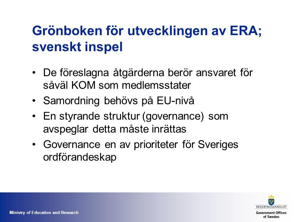 Ministry of Education and Research Grönboken för utvecklingen av ERA; svenskt inspel De föreslagna åtgärderna berör ansvaret för såväl KOM som medlemsstater Samordning behövs på EU-nivå En styrande struktur (governance) som avspeglar detta måste inrättas Governance en av prioriteter för Sveriges ordförandeskap