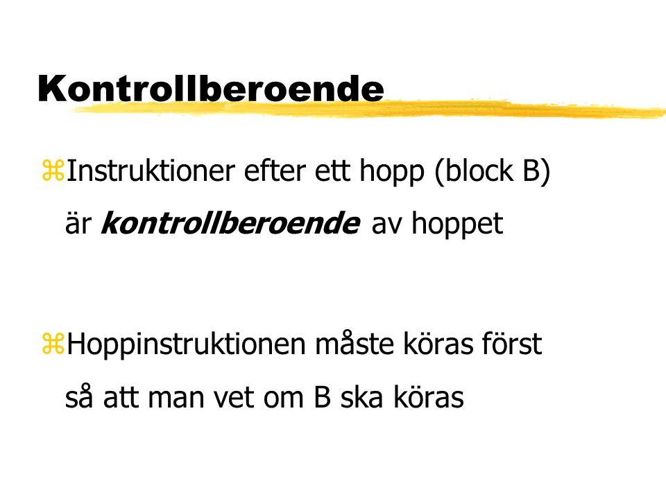 Kontrollberoende zInstruktioner efter ett hopp (block B) är kontrollberoende av hoppet zHoppinstruktionen måste köras först så att man vet om B ska kö