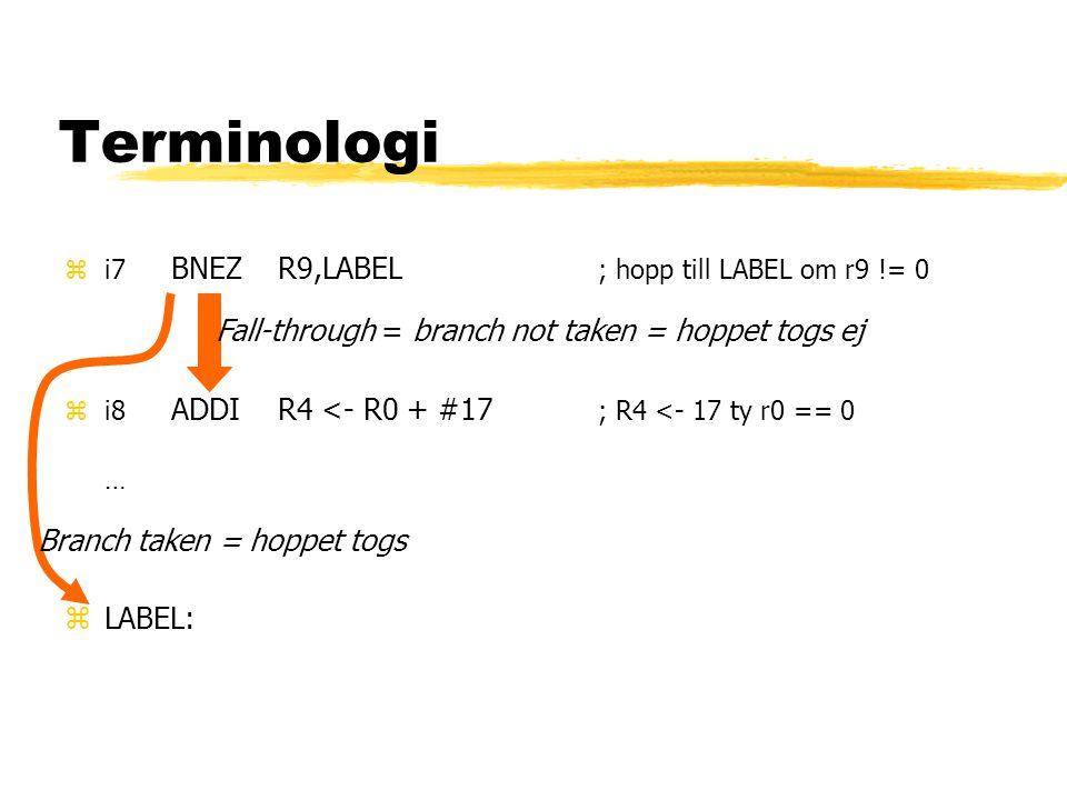 Terminologi Fall-through = branch not taken = hoppet togs ej Branch taken = hoppet togs zi7 BNEZR9,LABEL ; hopp till LABEL om r9 != 0 zi8 ADDIR4 <- R0