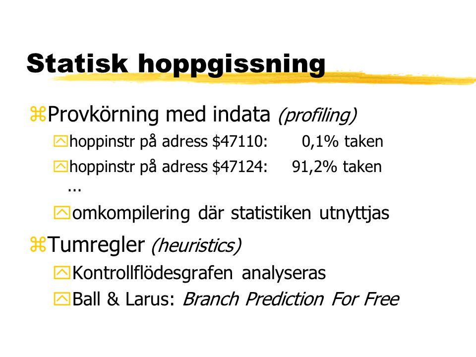 Statisk hoppgissning zProvkörning med indata (profiling) yhoppinstr på adress $47110: 0,1% taken yhoppinstr på adress $47124:91,2% taken... yomkompile