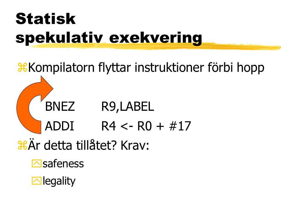 Statisk spekulativ exekvering zKompilatorn flyttar instruktioner förbi hopp BNEZR9,LABEL ADDIR4 <- R0 + #17 zÄr detta tillåtet? Krav: ysafeness ylegal