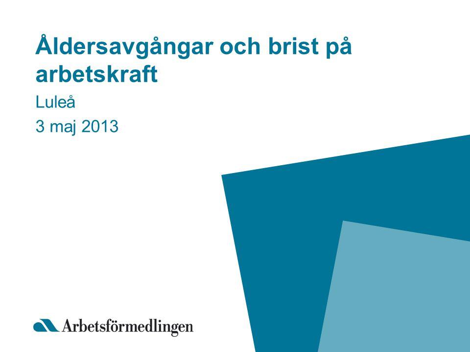 Åldersavgångar och brist på arbetskraft Luleå 3 maj 2013