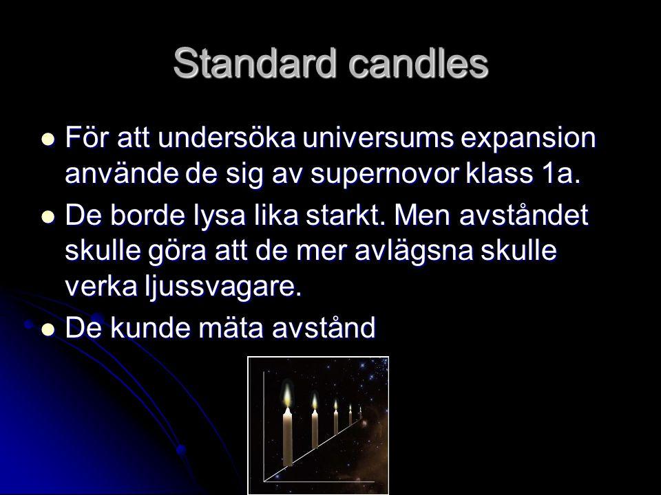 Standard candles För att undersöka universums expansion använde de sig av supernovor klass 1a.