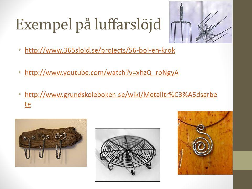 Exempel på luffarslöjd http://www.365slojd.se/projects/56-boj-en-krok http://www.youtube.com/watch v=xhzQ_roNgyA http://www.grundskoleboken.se/wiki/Metalltr%C3%A5dsarbe te http://www.grundskoleboken.se/wiki/Metalltr%C3%A5dsarbe te