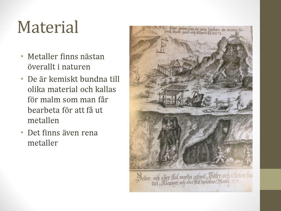 Material Metaller finns nästan överallt i naturen De är kemiskt bundna till olika material och kallas för malm som man får bearbeta för att få ut metallen Det finns även rena metaller
