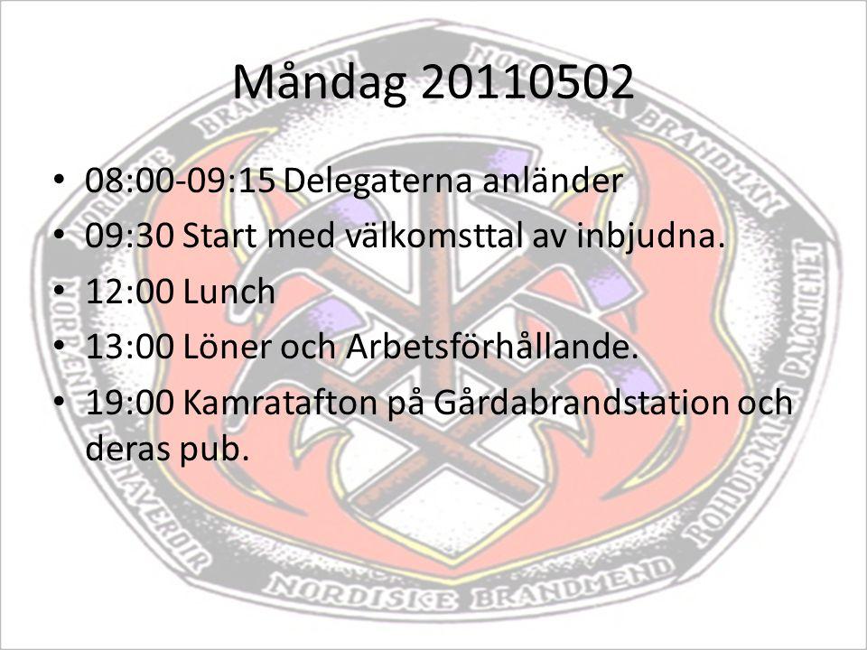 Måndag 20110502 08:00-09:15 Delegaterna anländer 09:30 Start med välkomsttal av inbjudna. 12:00 Lunch 13:00 Löner och Arbetsförhållande. 19:00 Kamrata