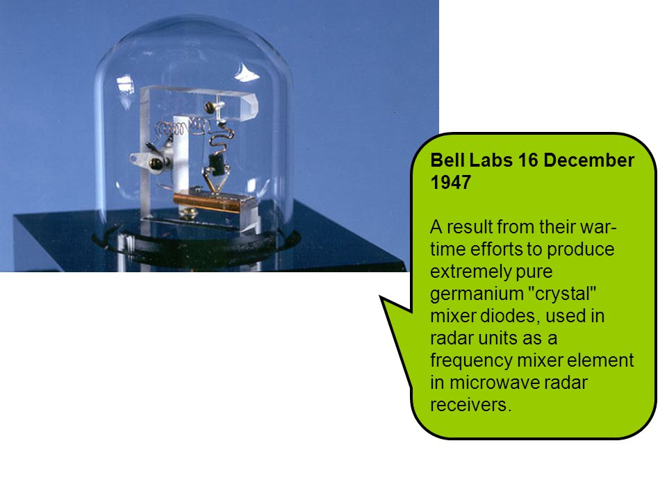 Bell Labs 16 December 1947 A result from their war- time efforts to produce extremely pure germanium crystal mixer diodes, used in radar units as a frequency mixer element in microwave radar receivers.