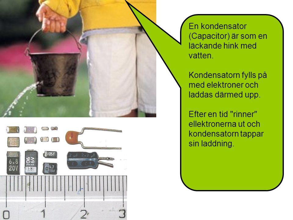 En kondensator (Capacitor) är som en läckande hink med vatten.