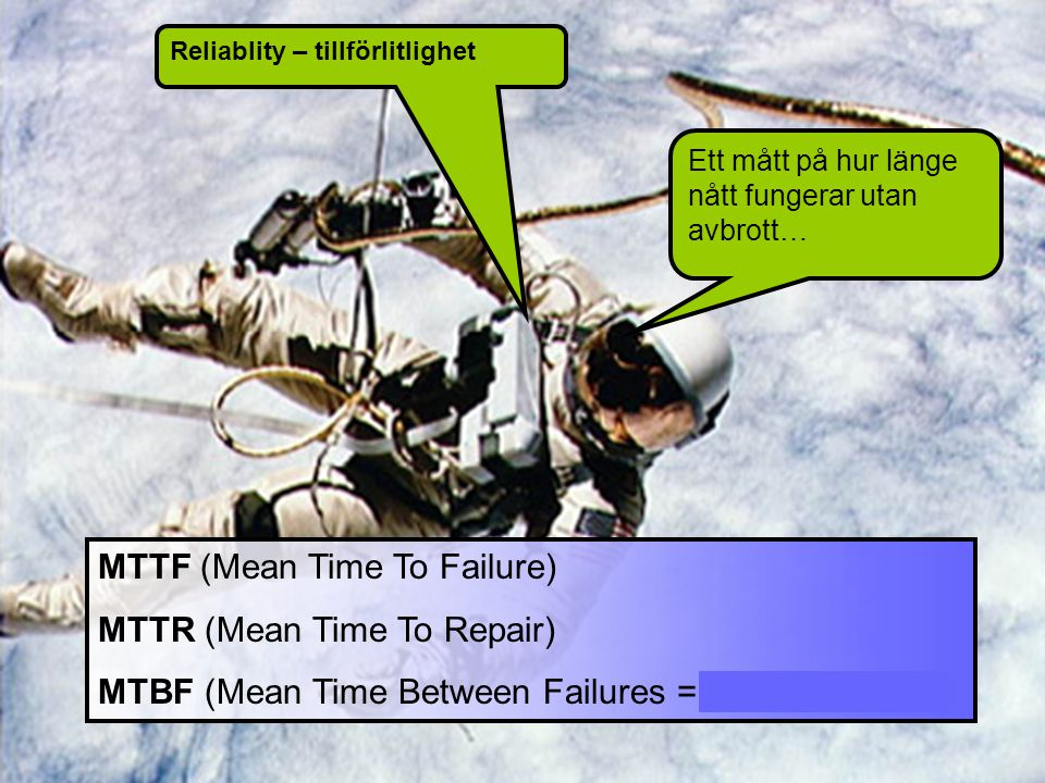 Ett mått på hur länge nått fungerar utan avbrott… MTTF (Mean Time To Failure) MTTR (Mean Time To Repair) MTBF (Mean Time Between Failures = MTTF + MTT