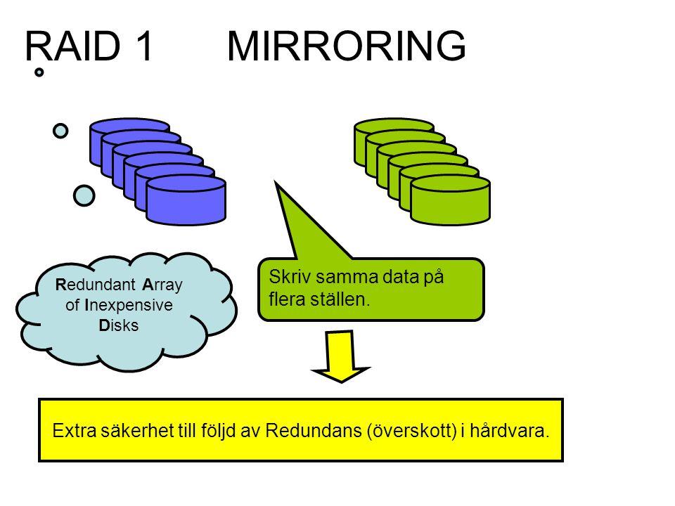 MIRRORING Skriv samma data på flera ställen.