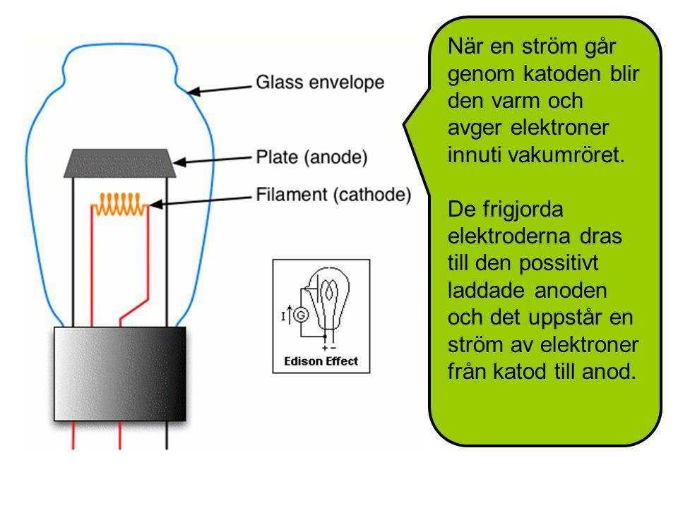 När en ström går genom katoden blir den varm och avger elektroner innuti vakumröret.