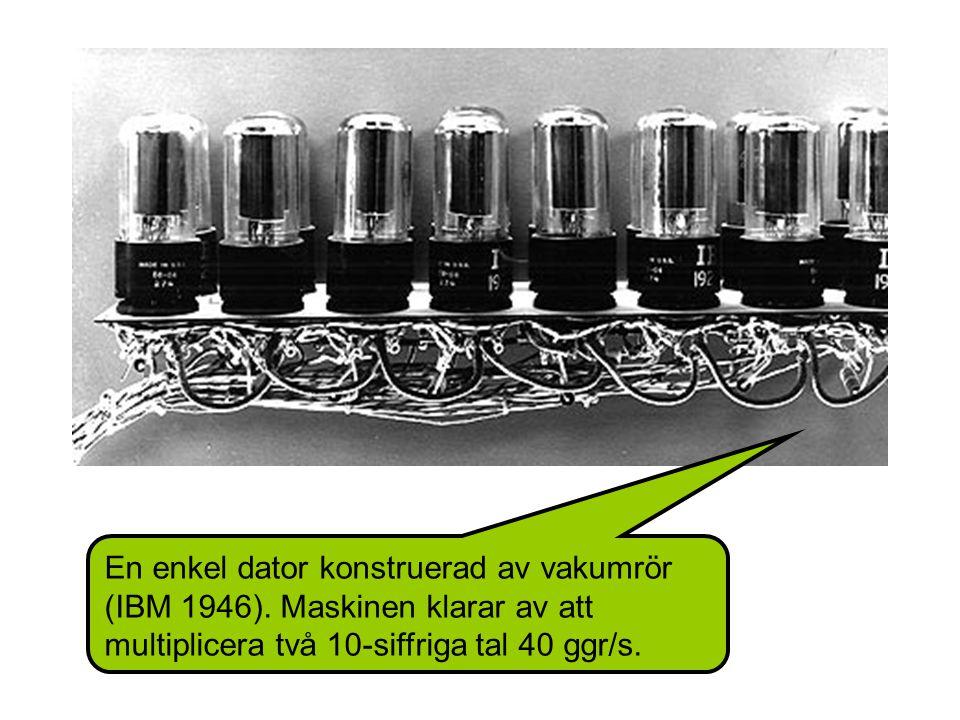 En enkel dator konstruerad av vakumrör (IBM 1946).