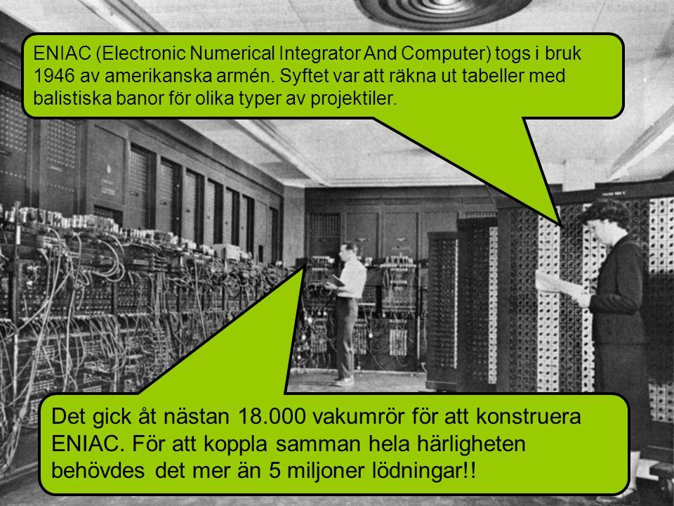 ENIAC (Electronic Numerical Integrator And Computer) togs i bruk 1946 av amerikanska armén.