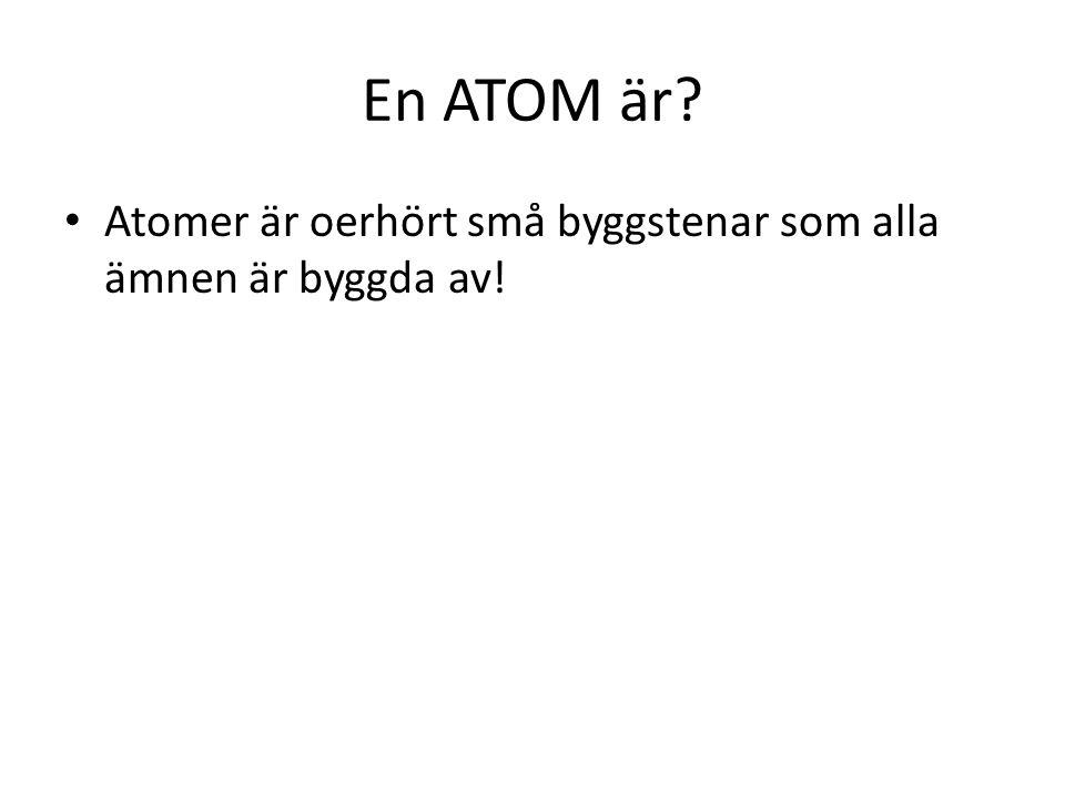 I mitten av atomen finns en atomkärna.