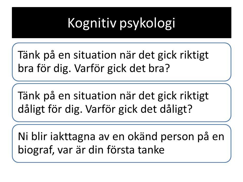 Kognitiv psykologi Tänk på en situation när det gick riktigt bra för dig. Varför gick det bra? Tänk på en situation när det gick riktigt dåligt för di