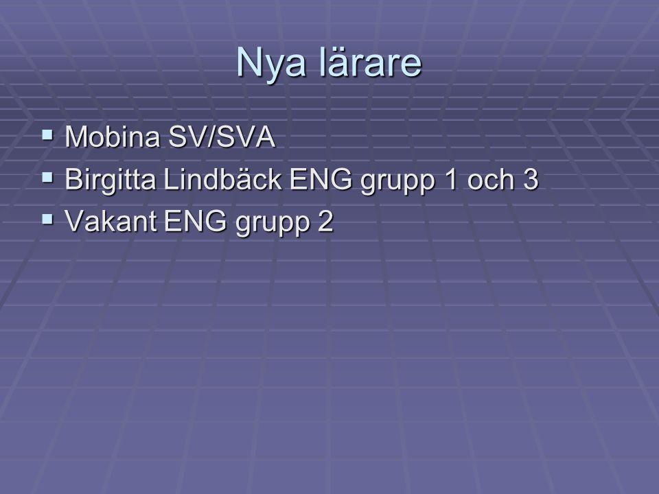 Nya lärare  Mobina SV/SVA  Birgitta Lindbäck ENG grupp 1 och 3  Vakant ENG grupp 2