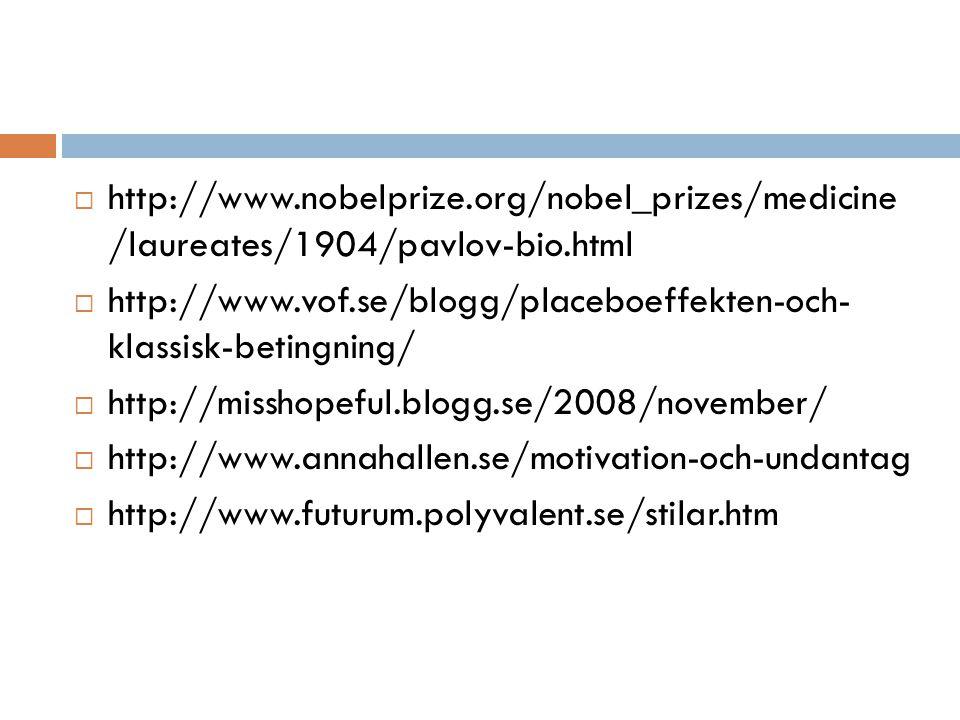  http://www.nobelprize.org/nobel_prizes/medicine /laureates/1904/pavlov-bio.html  http://www.vof.se/blogg/placeboeffekten-och- klassisk-betingning/