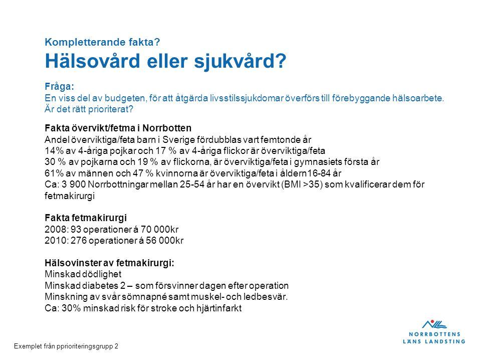 Exemplet från pprioriteringsgrupp 2 Fakta övervikt/fetma i Norrbotten Andel överviktiga/feta barn i Sverige fördubblas vart femtonde år 14% av 4-åriga