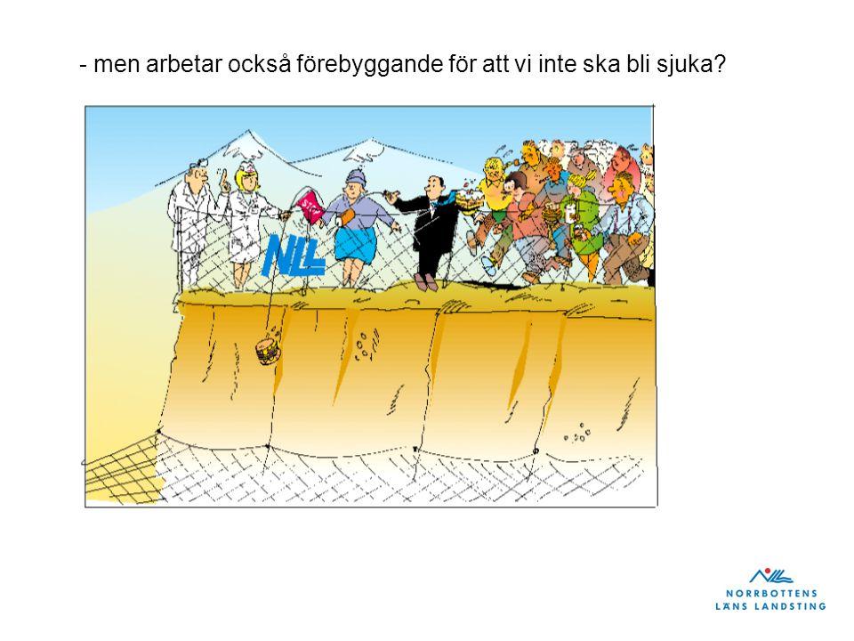 Exemplet från pprioriteringsgrupp 2 Fakta övervikt/fetma i Norrbotten Andel överviktiga/feta barn i Sverige fördubblas vart femtonde år 14% av 4-åriga pojkar och 17 % av 4-åriga flickor är överviktiga/feta 30 % av pojkarna och 19 % av flickorna, är överviktiga/feta i gymnasiets första år 61% av männen och 47 % kvinnorna är överviktiga/feta i åldern16-84 år Ca: 3 900 Norrbottningar mellan 25-54 år har en övervikt (BMI >35) som kvalificerar dem för fetmakirurgi Fakta fetmakirurgi 2008: 93 operationer á 70 000kr 2010: 276 operationer á 56 000kr Hälsovinster av fetmakirurgi: Minskad dödlighet Minskad diabetes 2 – som försvinner dagen efter operation Minskning av svår sömnapné samt muskel- och ledbesvär.