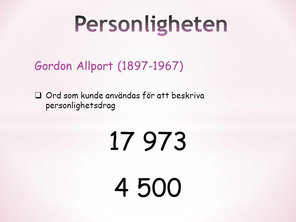 Gordon Allport (1897-1967)  Ord som kunde användas för att beskriva personlighetsdrag 17 973 4 500