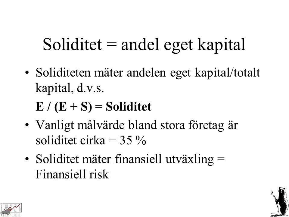 Soliditet = andel eget kapital Soliditeten mäter andelen eget kapital/totalt kapital, d.v.s. E / (E + S) = Soliditet Vanligt målvärde bland stora före