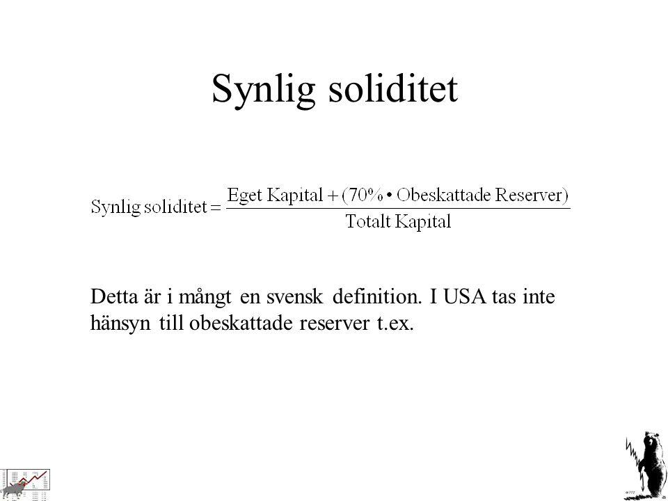 Synlig soliditet Detta är i mångt en svensk definition. I USA tas inte hänsyn till obeskattade reserver t.ex.
