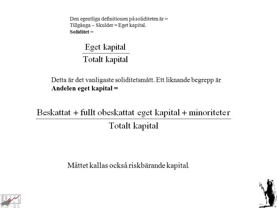 Den egentliga definitionen på soliditeten är = Tillgånga – Skulder = Eget kapital. Soliditet = Detta är det vanligaste soliditetsmått. Ett liknande be