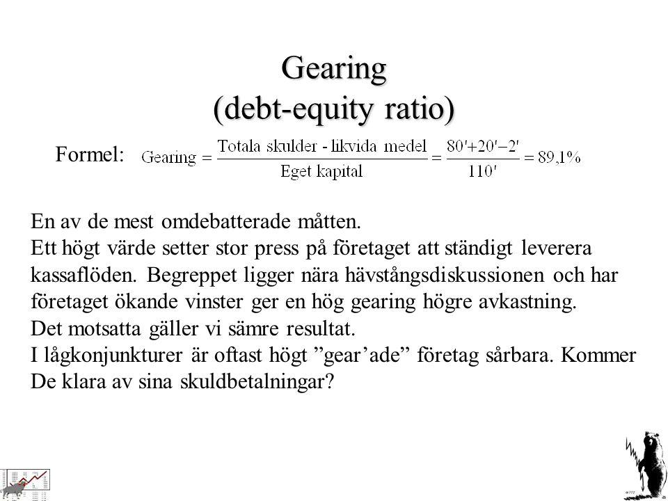 Gearing (debt-equity ratio) Formel: En av de mest omdebatterade måtten. Ett högt värde setter stor press på företaget att ständigt leverera kassaflöde