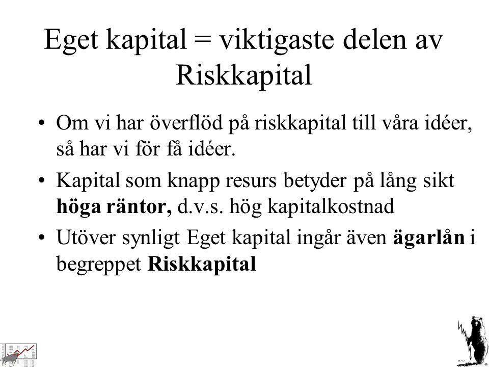 Eget kapital = viktigaste delen av Riskkapital Om vi har överflöd på riskkapital till våra idéer, så har vi för få idéer. Kapital som knapp resurs bet
