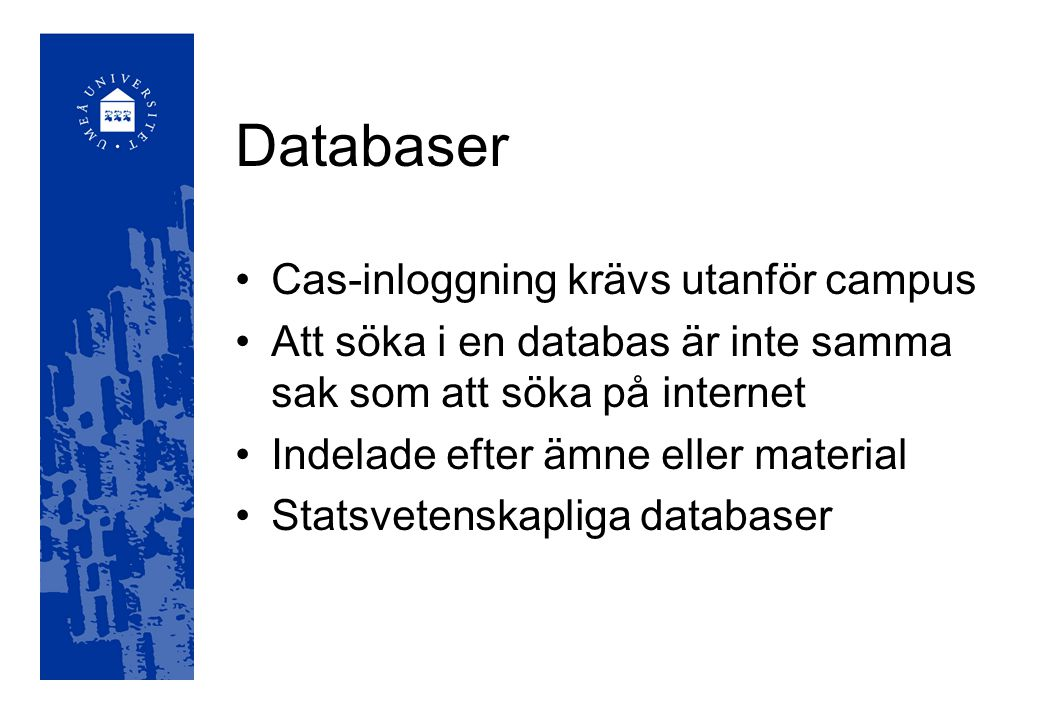 Innehåller artiklar från över 550 svenska tidskrifter och ca 15 dagstidningar 1979- Mycket populärvetenskap Kvinnovetenskaplig tidskrift, Statsvetenskaplig tidskrift Artikelsök