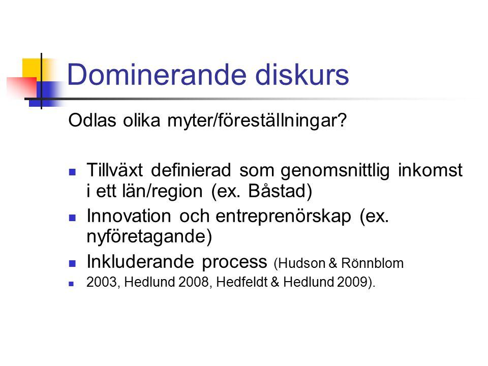 Dominerande diskurs Odlas olika myter/föreställningar.