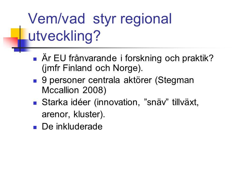 Vem/vad styr regional utveckling. Är EU frånvarande i forskning och praktik.