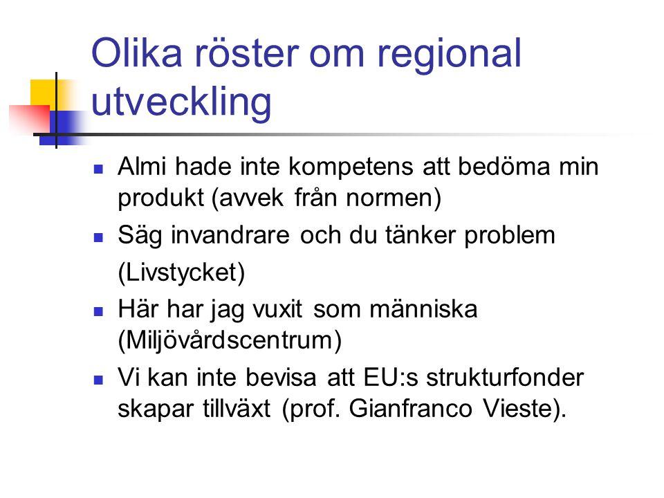 Olika röster om regional utveckling Almi hade inte kompetens att bedöma min produkt (avvek från normen) Säg invandrare och du tänker problem (Livstycket) Här har jag vuxit som människa (Miljövårdscentrum) Vi kan inte bevisa att EU:s strukturfonder skapar tillväxt (prof.