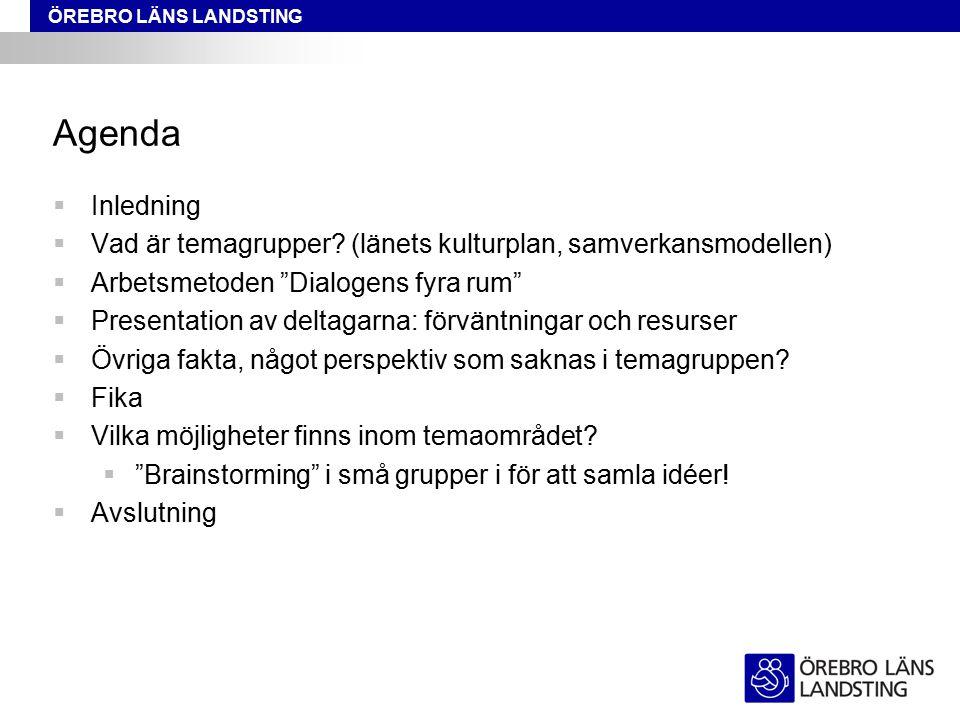 """ÖREBRO LÄNS LANDSTING Agenda  Inledning  Vad är temagrupper? (länets kulturplan, samverkansmodellen)  Arbetsmetoden """"Dialogens fyra rum""""  Presenta"""