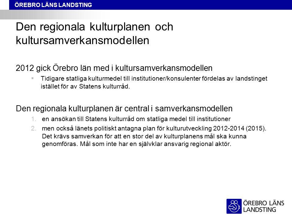 ÖREBRO LÄNS LANDSTING Den regionala kulturplanen och kultursamverkansmodellen 2012 gick Örebro län med i kultursamverkansmodellen  Tidigare statliga